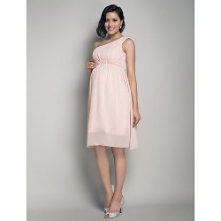 Knee-length Chiffon Bridesmaid Dress - Pearl Pink Maternity A-line / Princess One Shoulder
