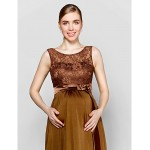 Floor-length Lace / Knit Bridesmaid Dress - Brown Plus Sizes / Petite Sheath/Column Scoop Special Occasion Dresses