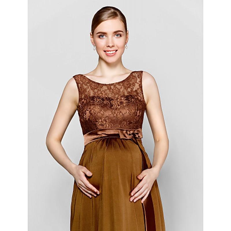 0af1ede30ad ... Floor-length Lace   Knit Bridesmaid Dress - Brown Plus Sizes   Petite  Sheath  ...
