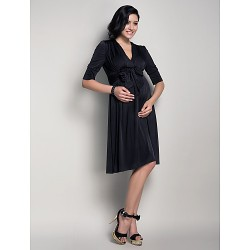 Knee-length Jersey Bridesmaid Dress - Black Maternity A-line V-neck