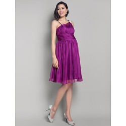 Knee Length Chiffon Bridesmaid Dress Grape Maternity A Line Princess Straps