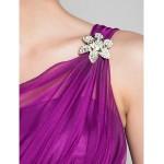 Knee-length Chiffon Bridesmaid Dress - Grape Maternity A-line / Princess Straps Special Occasion Dresses