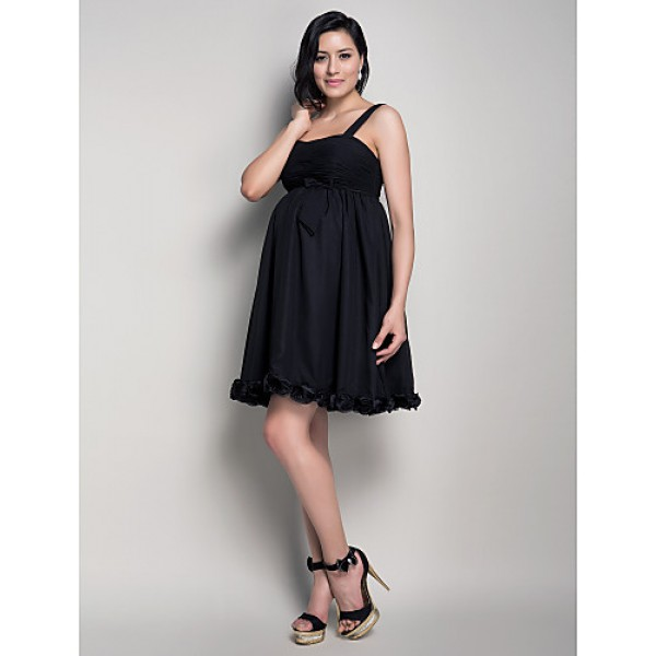 Short Mini Chiffon Bridesmaid Dress Black Maternity A Line Princess Straps