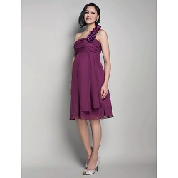 Knee Length Chiffon Bridesmaid Dress Grape Maternity A Line Princess One Shoulder