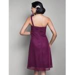 Knee-length Chiffon Bridesmaid Dress - Grape Maternity A-line / Princess One Shoulder Special Occasion Dresses