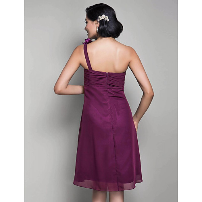 Knee-length Chiffon Bridesmaid Dress - Grape Maternity A-line ...