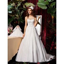 A Line Princess Wedding Dress Ivory Sweep Brush Train Jewel Chiffon Lace