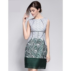 Cocktail Party Dress - Clover / Lime Green Sheath/Column Jewel Knee-length Polyester
