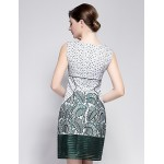 Cocktail Party Dress - Clover / Lime Green Sheath/Column Jewel Knee-length Polyester Special Occasion Dresses