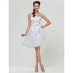 Knee-length Satin / Organza Bridesmaid Dress - White Plus Sizes / Petite A-line / Princess Strapless