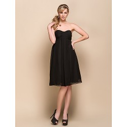 Knee Length Chiffon Bridesmaid Dress Black A Line Strapless Sweetheart