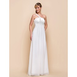 Floor Length Chiffon Bridesmaid Dress Ivory Sheath Column One Shoulder