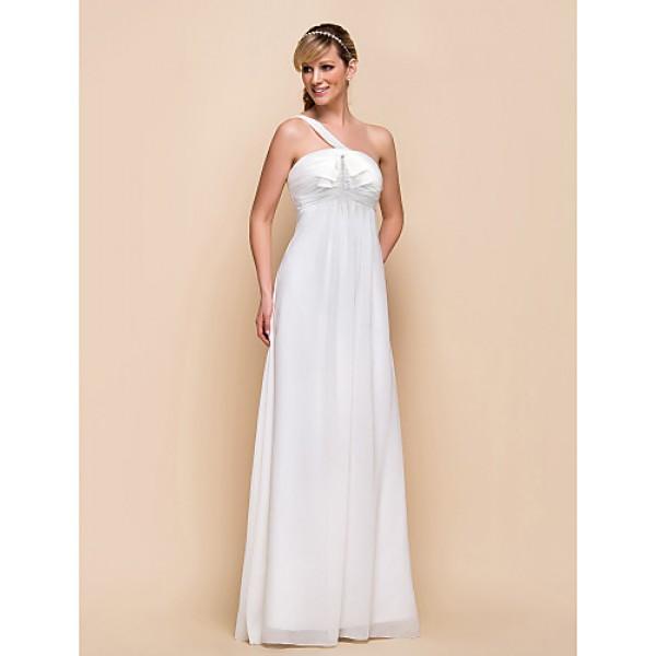 Floor-length Chiffon Bridesmaid Dress - Ivory Sheath/Column One Shoulder Special Occasion Dresses