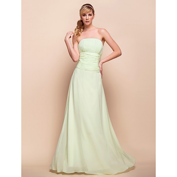 Strapless Floor-length Chiffon Bridesmaid/Wedding Party Dress 929968 Special Occasion Dresses