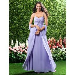 Military Ball / Formal Evening / Wedding Party Dress - Lavender Petite Sheath/Column Sweetheart / Spaghetti Straps Floor-length Chiffon
