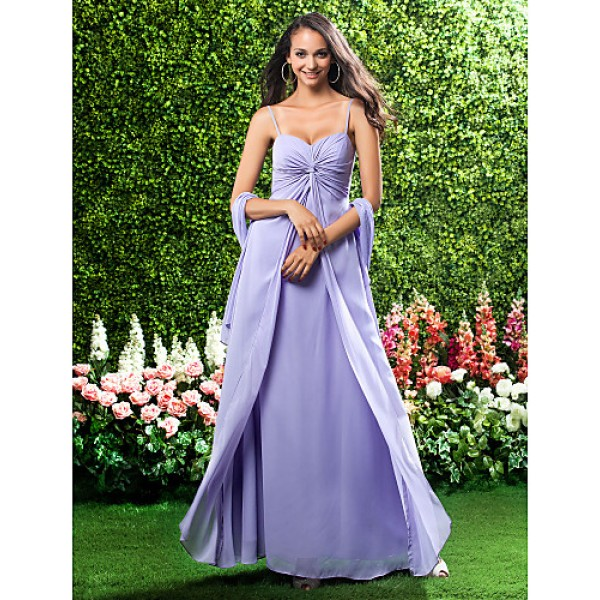 Military Ball / Formal Evening / Wedding Party Dress - Lavender Petite Sheath/Column Sweetheart / Spaghetti Straps Floor-length Chiffon Special Occasion Dresses