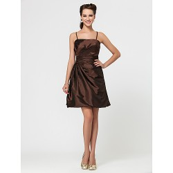 Wedding Party / Homecoming / Cocktail Party Dress - Brown A-line / Princess Strapless / Spaghetti Straps Short/Mini Taffeta