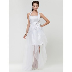 Wedding Party Homecoming Cocktail Party Graduation Prom Dress White A Line Halter Asymmetrical Satin Organza
