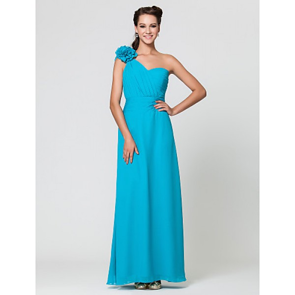 Wedding Party / Formal Evening / Military Ball Dress - Pool Sheath/Column One Shoulder / Sweetheart Floor-length Chiffon Special Occasion Dresses