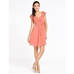 Cocktail Party Homecoming Wedding Party Dress Watermelon Petite Sheath Column V Neck Knee Length Chiffon