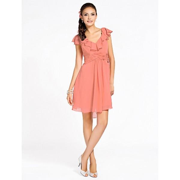 Cocktail Party / Homecoming / Wedding Party Dress - Watermelon Petite Sheath/Column V-neck Knee-length Chiffon Celebrity Dresses