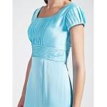 Sheath/Column Scoop Floor-length Chiffon Stretch Satin Bridesmaid Dress Special Occasion Dresses