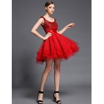 Cocktail Party Dress - Ruby Ball Gown Scoop Short/Mini Tulle / Charmeuse / Sequined Special Occasion Dresses