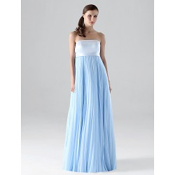 Floor-length Chiffon Bridesmaid Dress - Sky Blue Plus Sizes / Petite Sheath/Column Strapless
