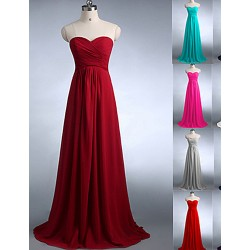 Floor Length Chiffon Bridesmaid Dress Burgundy Fuchsia Dark Green Regency Silver White Royal Blue Pool Jade A Line