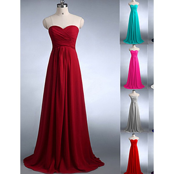 Floor Length Chiffon Bridesmaid Dress Burgundy Fuchsia Dark Green Regency Silver White Royal Blue Pool Jade A Line