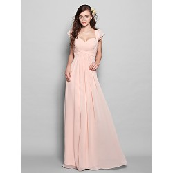 Floor-length Chiffon Bridesmaid Dress - Pearl Pink Plus Sizes / Petite A-line Sweetheart