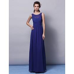 Floor Length Chiffon Bridesmaid Dress Ruby Grape Champagne Regency Ocean Blue Plus Sizes Petite Sheath Column Jewel
