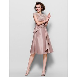 A Line Plus Sizes Petite Mother Of The Bride Dress Brown Knee Length Short Sleeve Lace Taffeta