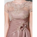 A-line Plus Sizes / Petite Mother of the Bride Dress - Brown Knee-length Short Sleeve Lace / Taffeta Mother Of The Bride Dresses