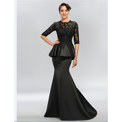 Trumpet Mermaid Plus Sizes Petite Mother Of The Bride Dress Black Sweep Brush Train Half Sleeve Satin Lace