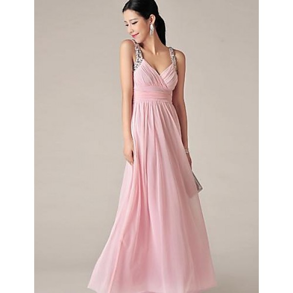 Floor-length Chiffon Bridesmaid Dress - Blushing Pink A-line V-neck Special Occasion Dresses