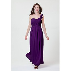 Floor-length Chiffon Bridesmaid Dress - Daffodil / Blushing Pink / Lilac / Grape / White / Silver / Fuchsia / Black Sheath/ColumnOne
