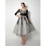 A-line Mother of the Bride Dress - Black Knee-length Tulle Mother Of The Bride Dresses