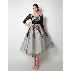 A Line Mother Of The Bride Dress Black Knee Length Tulle