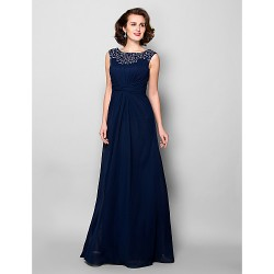 A Line Plus Sizes Petite Mother Of The Bride Dress Dark Navy Floor Length Sleeveless Chiffon