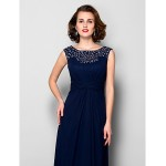 A-line Plus Sizes / Petite Mother of the Bride Dress - Dark Navy Floor-length Sleeveless Chiffon Mother Of The Bride Dresses