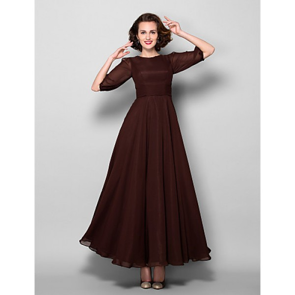 A-line Plus Sizes / Petite Mother of the Bride Dress - Chocolate Ankle-length Half Sleeve Chiffon Mother Of The Bride Dresses