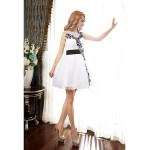 Cocktail Party Dress - Ivory A-line Scoop Short/Mini Organza Special Occasion Dresses