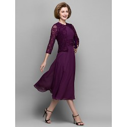 A Line Mother Of The Bride Dress Grape Tea Length 3 4 Length Sleeve Chiffon Lace