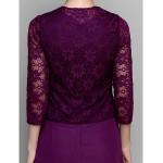 A-line Mother of the Bride Dress - Grape Tea-length 3/4 Length Sleeve Chiffon / Lace Mother Of The Bride Dresses