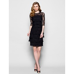 Sheath Column Plus Sizes Petite Mother Of The Bride Dress Black Knee Length Half Sleeve Chiffon Lace