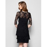 Sheath/Column Plus Sizes / Petite Mother of the Bride Dress - Black Knee-length Half Sleeve Chiffon / Lace Mother Of The Bride Dresses