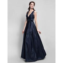 Floor Length Taffeta Bridesmaid Dress Dark Navy Plus Sizes Petite A Line V Neck