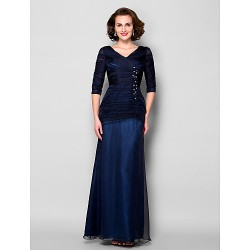 Sheath Column Plus Sizes Petite Mother Of The Bride Dress Dark Navy Floor Length Half Sleeve Chiffon Tulle