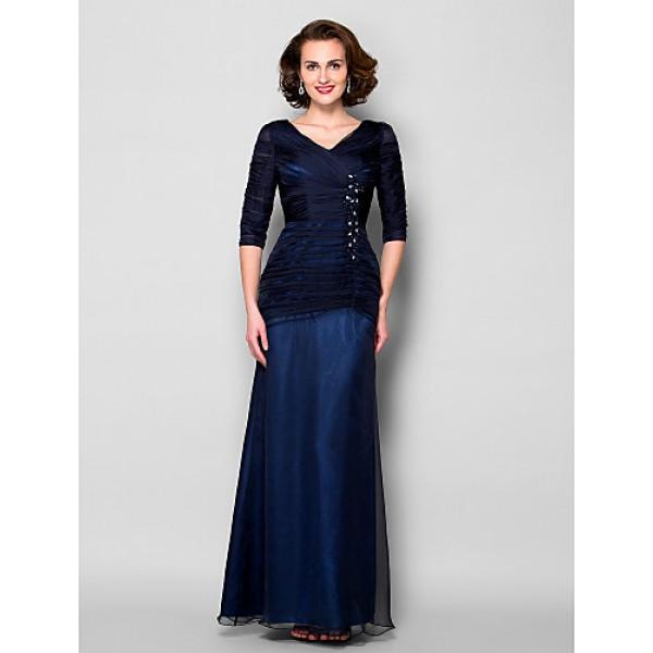 Sheath/Column Plus Sizes / Petite Mother of the Bride Dress - Dark Navy Floor-length Half Sleeve Chiffon / Tulle Mother Of The Bride Dresses